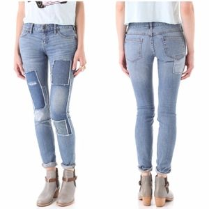 Free people Patched Light Washed Skinny Jeans 28